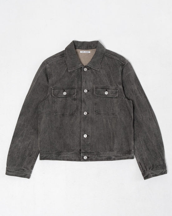 Mono Jacket Coated Linen Denim - Meadow