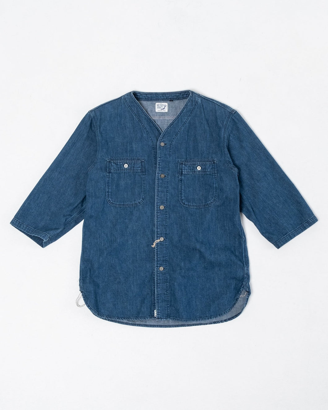 No Collar 3/4 Sleeve Shirt Denim Used - Meadow