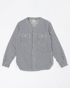 No Collar Shirt Hickory Stripe - Meadow