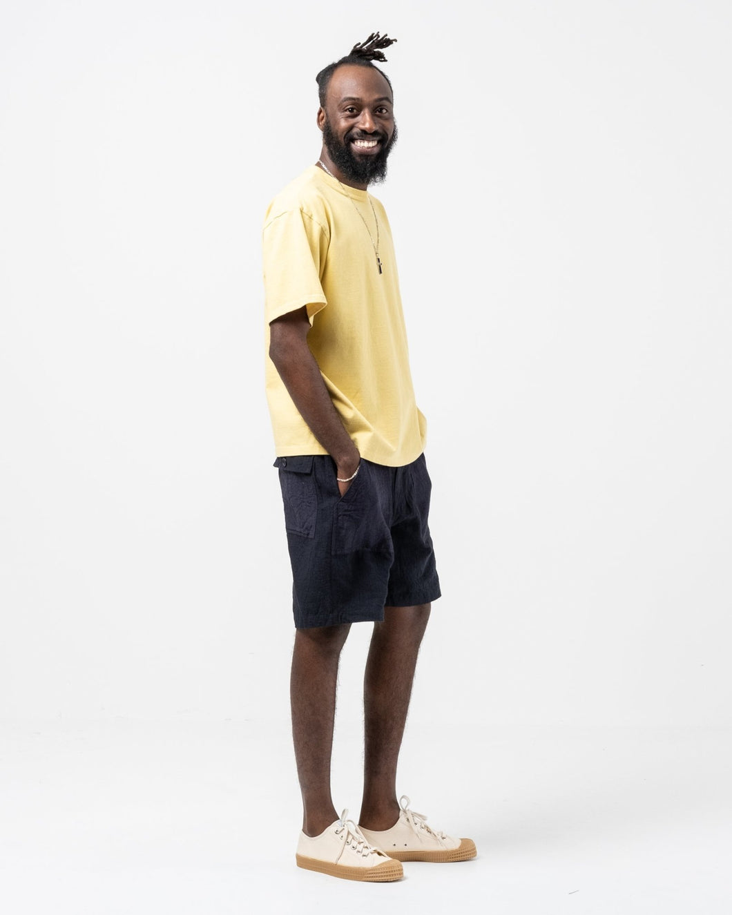 Patchwork Baker Short Pants Linen Navy - Meadow