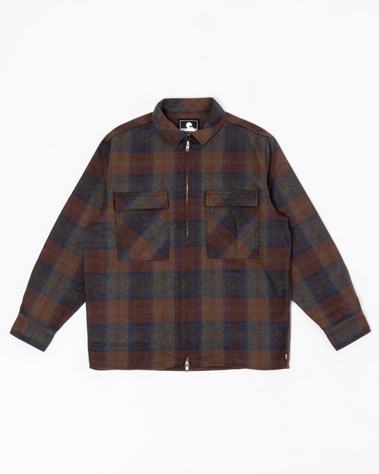 Radar Shirt Plaid Check Wool Blended Martini Olive - Meadow of Malmö