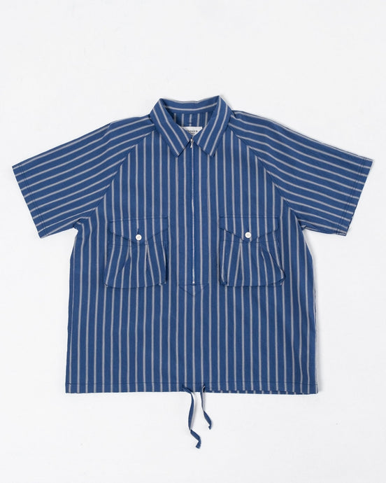 Scout Pullover Half Shirt Blue & Grey Stripe - Meadow of Malmö