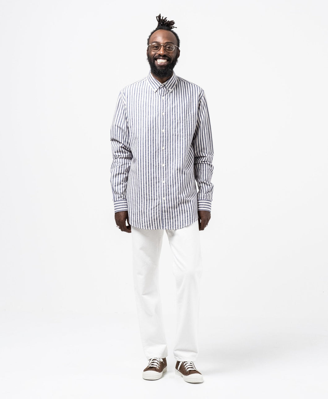 Shirt Button Down Brushed Cotton Stripe - Meadow of Malmö
