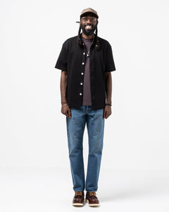 Short Sleeve Placket Polo Black - Meadow of Malmö