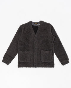 Wool Boa V-Neck Cardigan Charcoal - Meadow