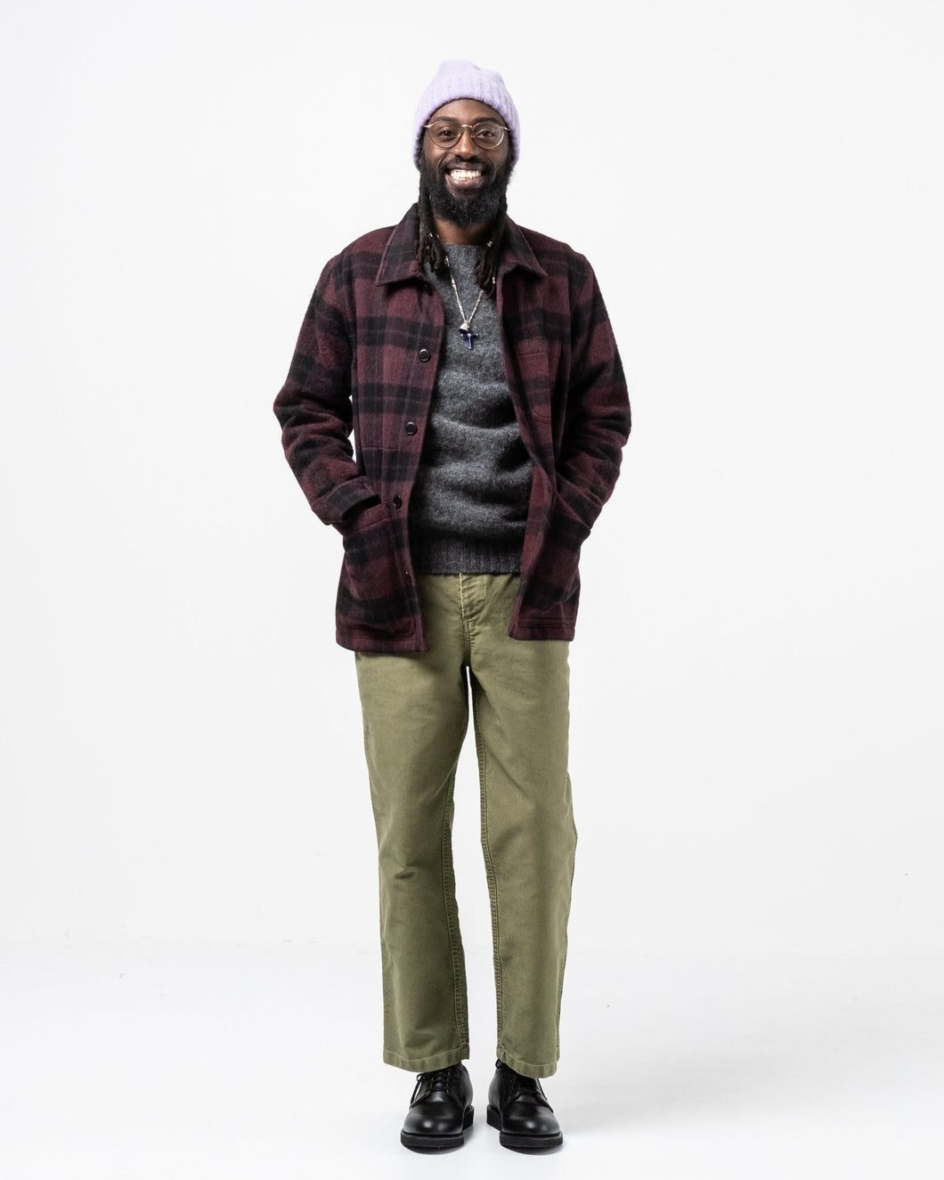 Wool Check Work Jacket Burgundy - Meadow of Malmö