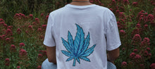 Load image into Gallery viewer, White Gras T-shirt (Blue Leaf)
