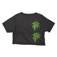 Load image into Gallery viewer, Black Gras Crop Top (Green Leaf)