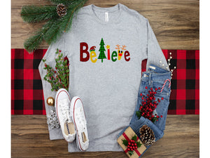 Believe Long Sleeved Holiday T-shirt