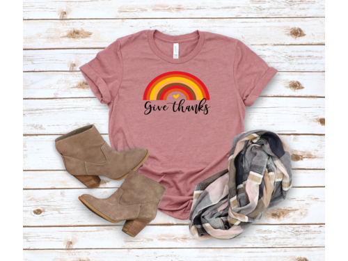 Give Thanks Rainbow Thanksgiving t-shirt
