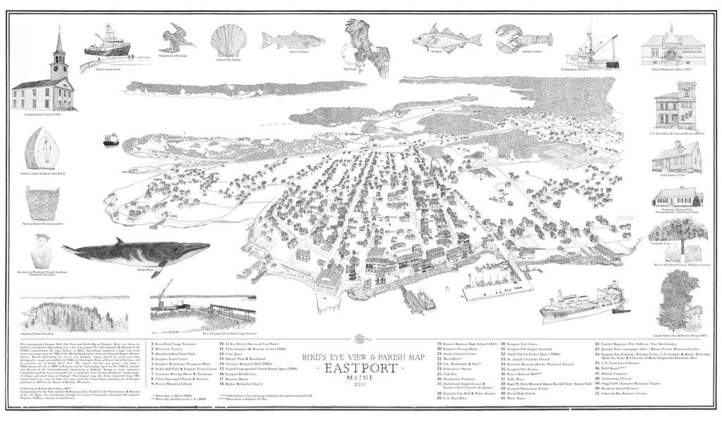 Eastport Birds-Eye View & Parish Map.
