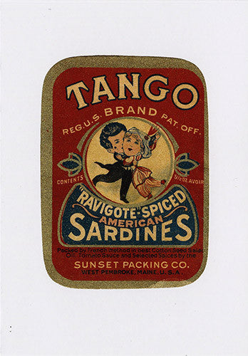 Tango brand sardine label note card