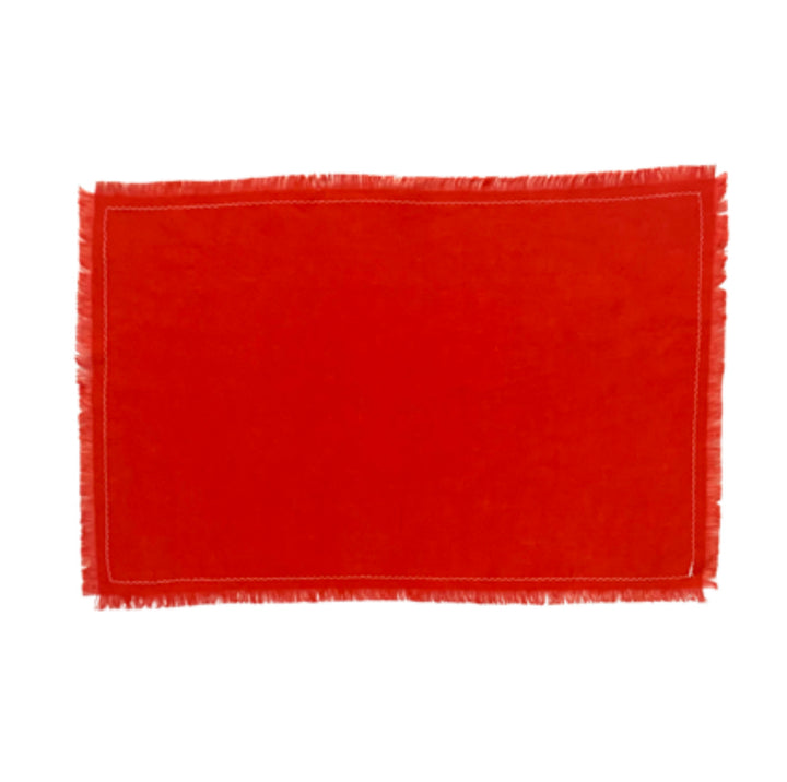 Linen Table Placemat Red