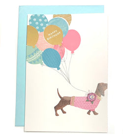 Greeting  Cards -  Birthday Teckel & Balloons