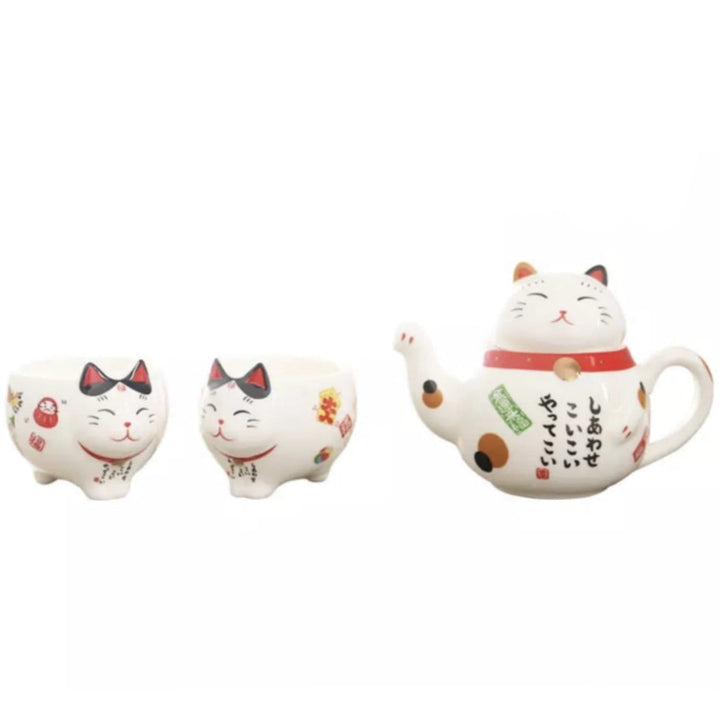 Lucky Cat Tea Set - 2 cups