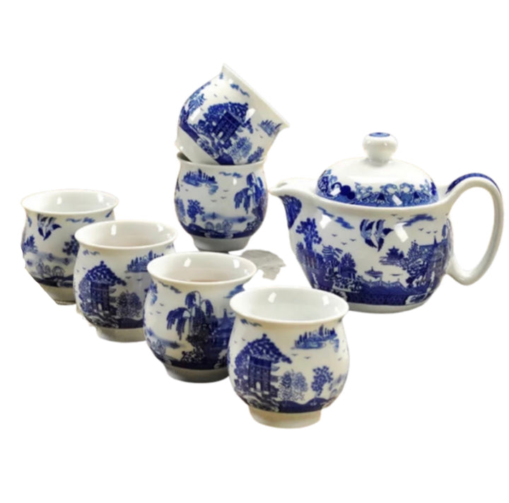 Chinese Tea Set Blue Birds - 6 cups