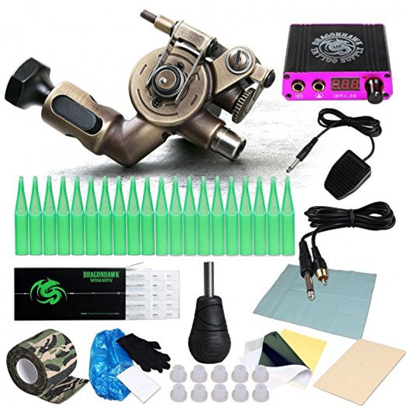 Extreme X2 Rotary Tattoo Machine Kit Power Supply Needles Grips RCA Cord