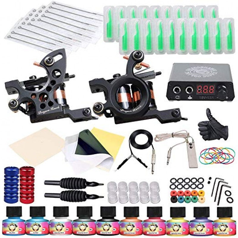 Complete Tattoo Kit 2 Machine Gun Ink Immortal Inks Power Supply
