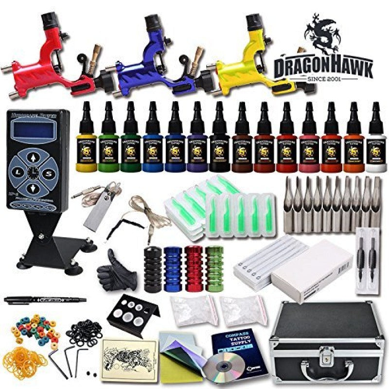 Professional Tattoo Kits Rotary 3 Machines 14 Colors Ink Huricane Power Supply