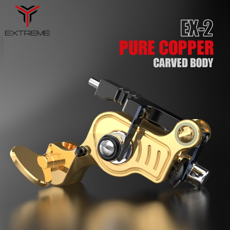 EX-2 Rotary Tattoo Machine Brass Frame Machine RCA Connected for Tattoo Artists