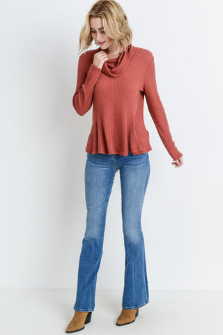 Waffle Cowl Neck Long Sleeves Top