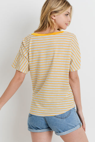 Multi Chevron Stripped Front Tied Dolman Top