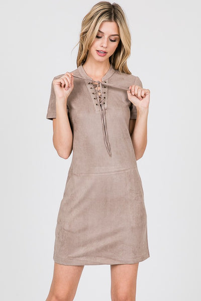 Front Lace Up Suede Dress