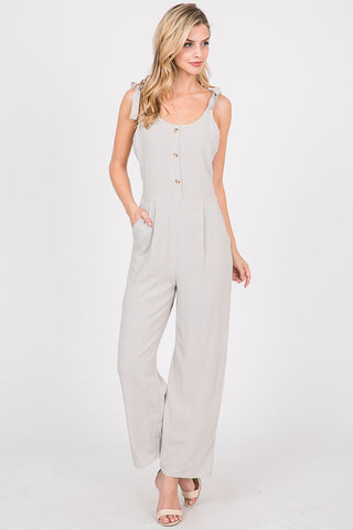 Front Button Down With Self Tie Straps Body Suit