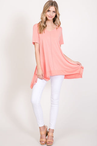 Short Sleeve Cupro Top With Cont Band