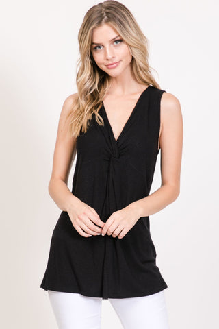 Sleeveless V-Neck With Front Chest Knot