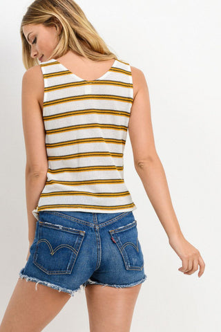 Baja Striped Knit Top With Side Tied Detailed