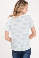 French Terry Short Sleeve Top Stripe Color Block