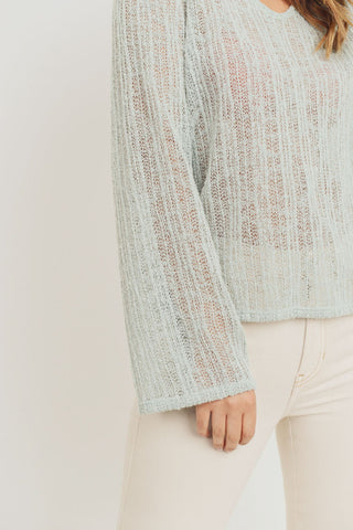 Textured Knit V Neck Long Sleeve Top