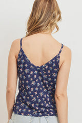 Printed Jersey Front Gathered Sleeveless Top