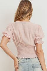 Puff Sleeve V Neck with Smocked Waist Top