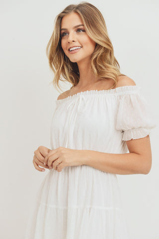 Off Shoulder Puff Sleeve Dress
