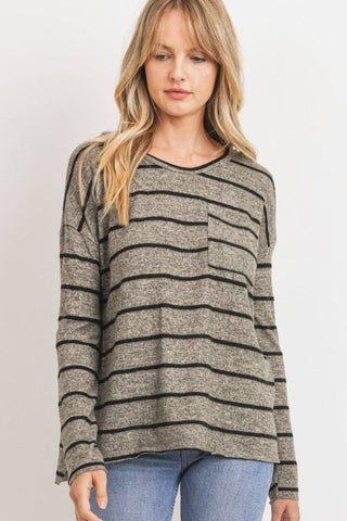Striped Front Pocket Round Collar L/S Top