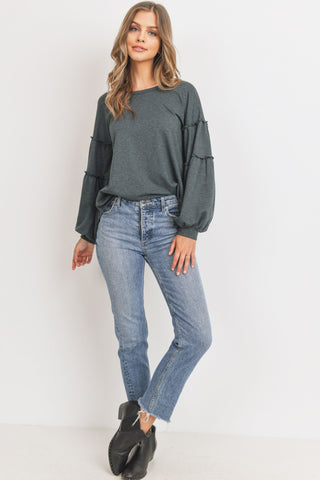 French Terry Cut Edge Shirring Long Sleeves Top