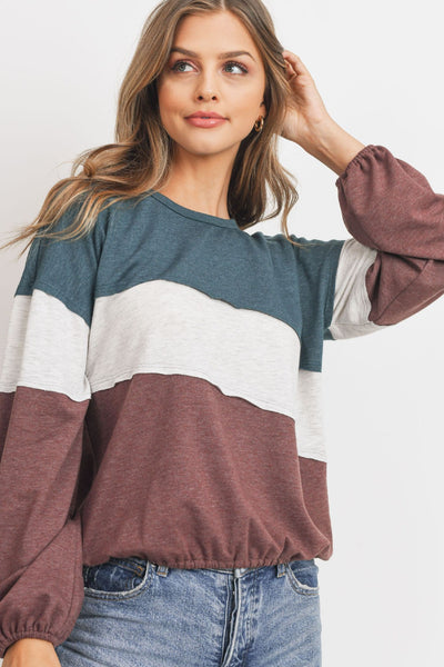 Terry Color Block Long Sleeve Top
