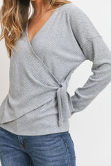 Ribbed Side Tied Detailed Warp L/S Top