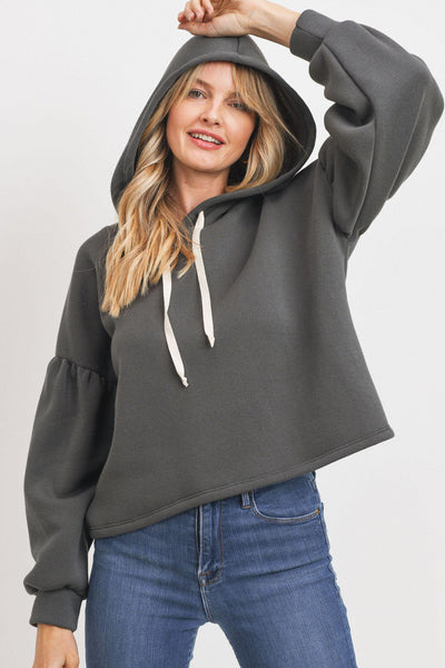 Fleece Burble Sleeve Cotton Tape String Hooded Top