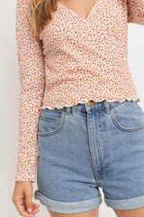 Floral Printed Textured Knit Surplice Long Sleeve