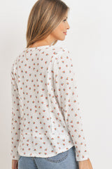 Floral Waffle with Raw Edge Detailed Long Sleeve