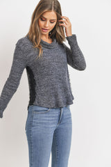 Long Sleeve Cowl Neck Top Lace Sides
