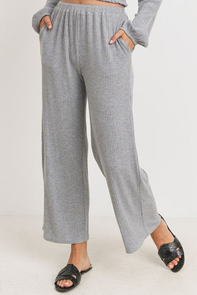 Rib Wide Leg Bottom Long Pants