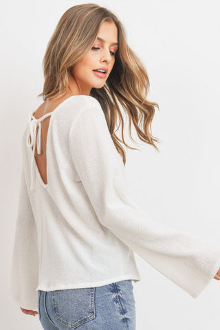 Textured Bell Sleeve Back Strip Lstop