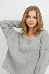 Brushed Waffle Dolman Long Sleeve Top