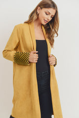 Suede Jacket With Printed Fur Cuff Sleeves