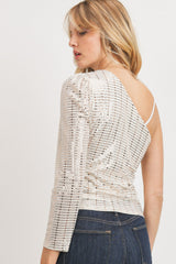 One Shoulder Sequence top