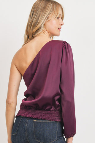 One Shoulder Satin Blouse
